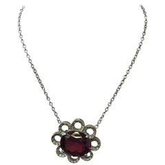 Red Garnet Oval and Diamond Flower Pendant Necklace in 18 Karat White Gold