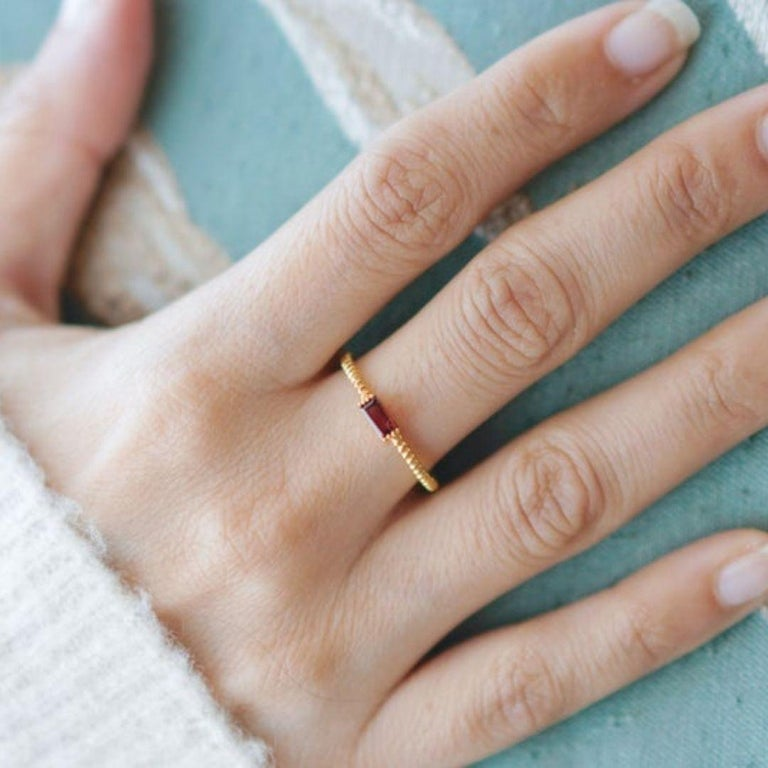Artisan Red Garnet Stacking Ring, Engagement Jewelry for Anniversary Gift and Wedding For Sale