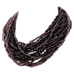 Red Garnet Torsade Necklace with Yellow Gold Clasp