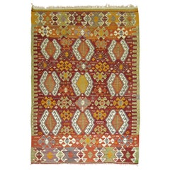 Red Geometric Turkish Kilim