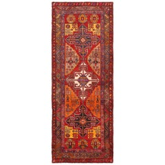 Red Geometric Vintage Persian Heriz Runner Rug