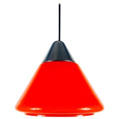 Red Glass and Chrome Hanging Lamp by Peill and Putzler, 1970s, Germany