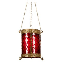 Red Glass and Gilt Bronze Light Shade