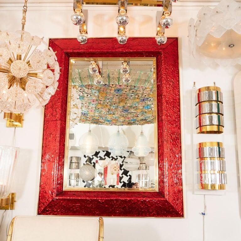 Mid-Century Modern Red Glass Surround Mirror For Sale