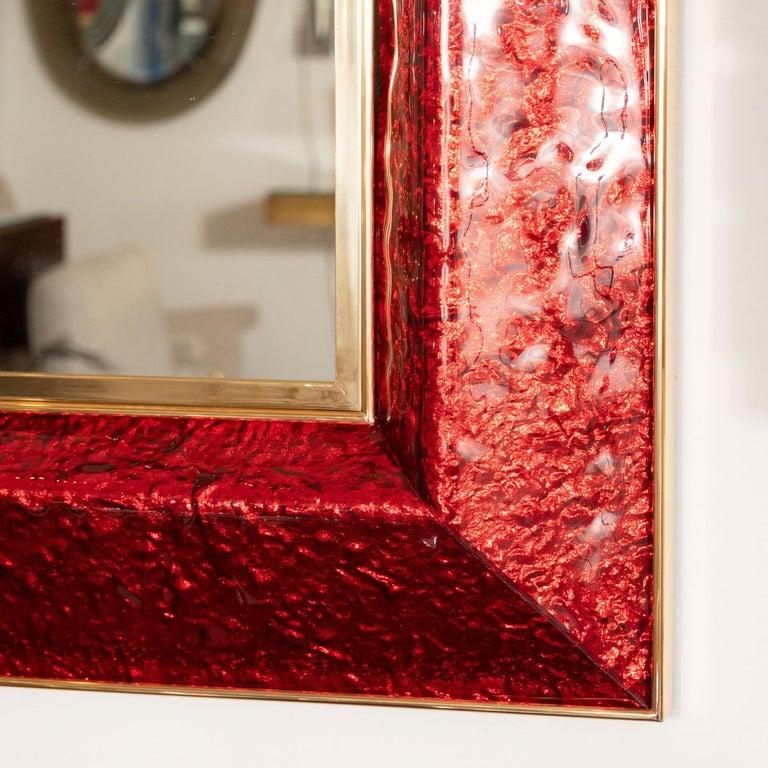 Italian Red Glass Surround Mirror For Sale