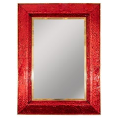 Red Glass Surround Mirror