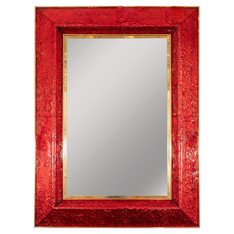 Red Glass Surround Mirror For Sale