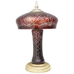 Red Glass Table Lamp with Brass Base, France, 1950s