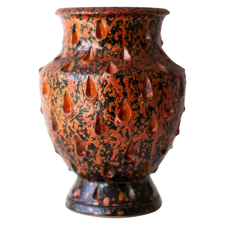Red Glazed Italian Vase For Sale