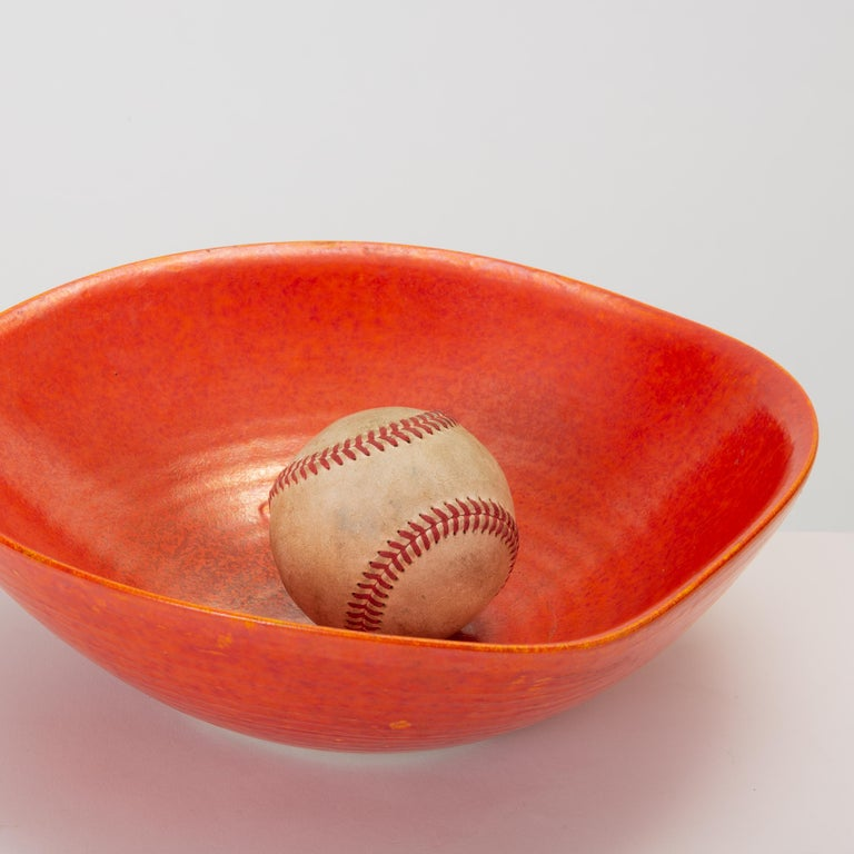 Red Glazed Studio Pottery Bowl For Sale 4
