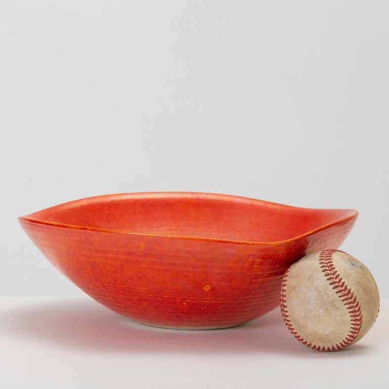 Mid-20th Century Red Glazed Studio Pottery Bowl For Sale