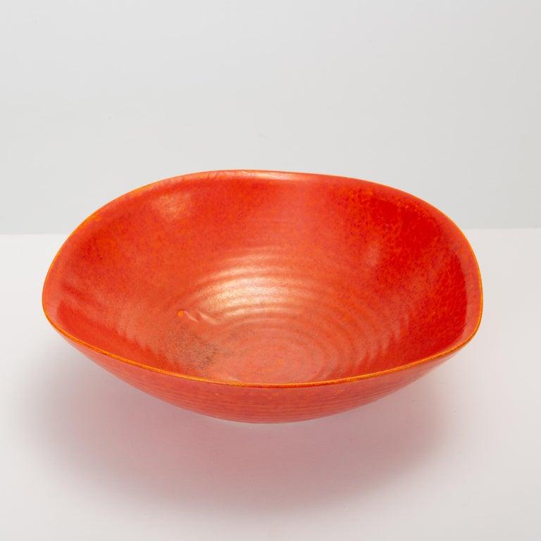 Ceramic Red Glazed Studio Pottery Bowl For Sale
