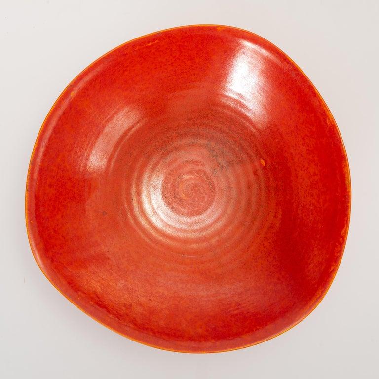 Red Glazed Studio Pottery Bowl For Sale 1