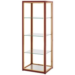 Red Gloss and Brass Etagere with Glass Shelves