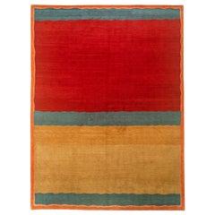 Red, Gold and Blue Kilim Look Tibetan Design Rug