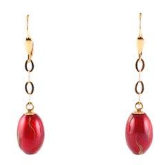 Red Gold Enamel 18 Karat Yellow Gold Earrings, by Soho