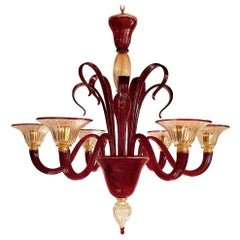 Red & Gold large Murano Glass Chandelier, Venini Style, Mid-Century Modern Italy