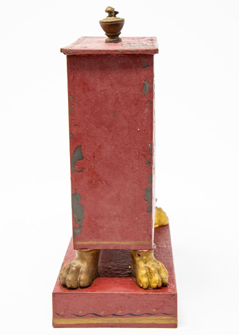 19th Century Red and Gold Pocket Watch Safe For Sale