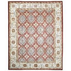 Red, Gray and Beige Handmade Wool Distressed Anatolian Turkish Oushak Rug
