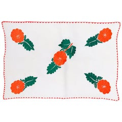 Red Green Floral Hibiscus Handstitched Crocheted Linen Tablecloth Table Runner