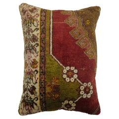 Red Green Turkish Rug Pillow