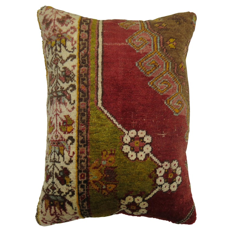 Red Green Turkish Rug Pillow For Sale