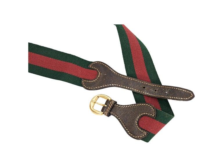 Black Red & Green Vintage Gucci Striped Canvas Belt For Sale