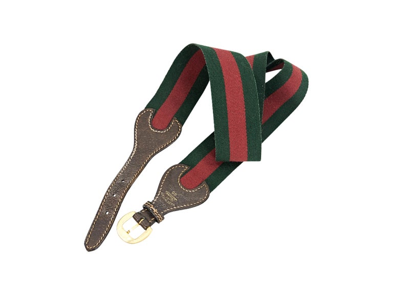 Red & Green Vintage Gucci Striped Canvas Belt In Good Condition For Sale In New York, NY