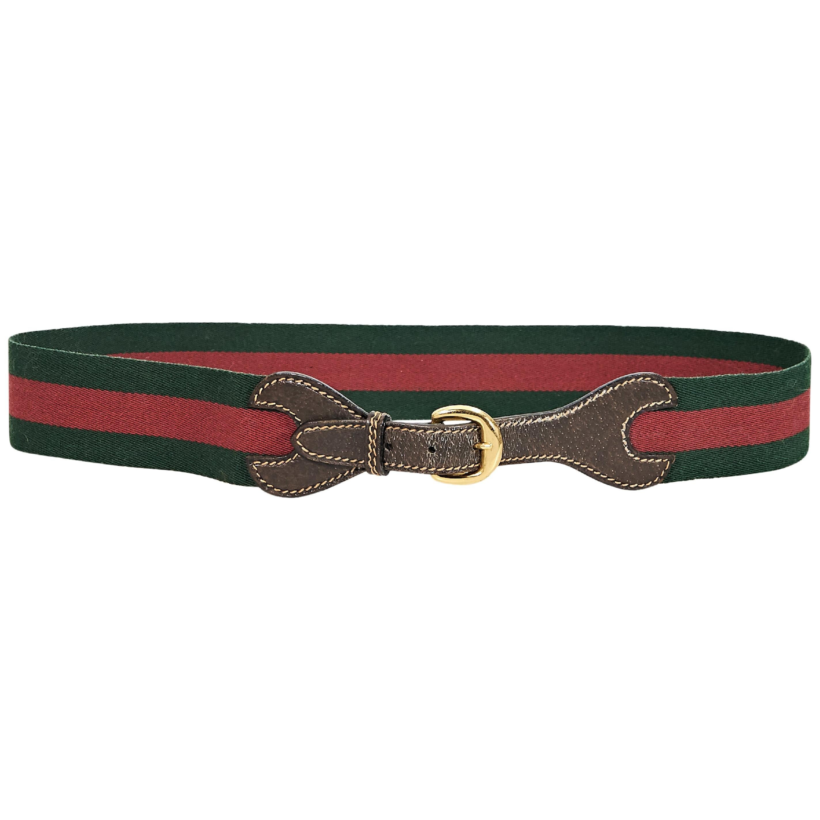0e0284bee Red and Green Vintage Gucci Striped Canvas Belt at 1stdibs