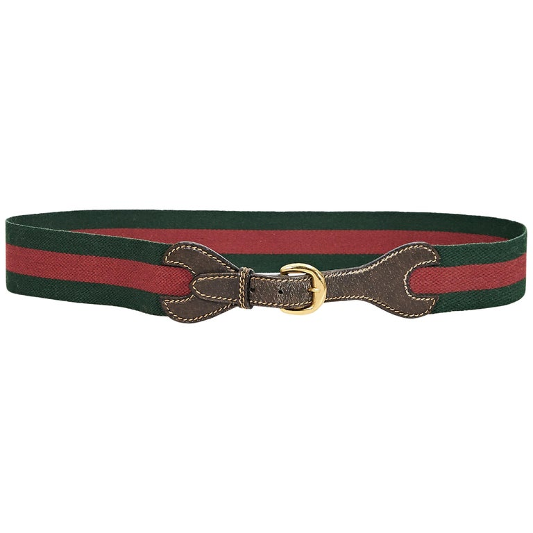 Red & Green Vintage Gucci Striped Canvas Belt For Sale