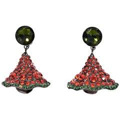 Red & Green Vintage Yves Saint Laurent Drop Earrings