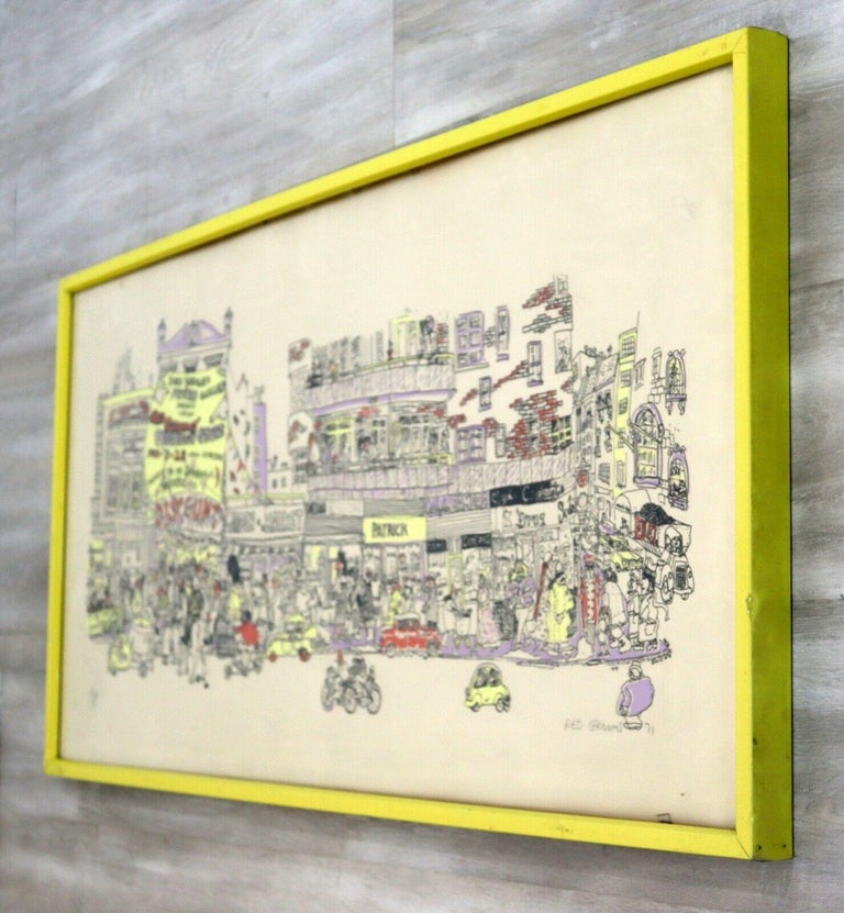 For your consideration is a fabulous and fun modern city scene screenprint titled
