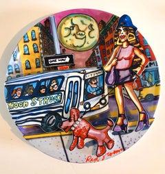 Red Grooms Moonstruck Porcelain Sculpture Plate 3D Manhattan NYC Cartoon