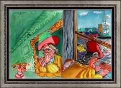 Red Grooms Original Gouache Painting Signed Illustration Portrait Modern Artwork