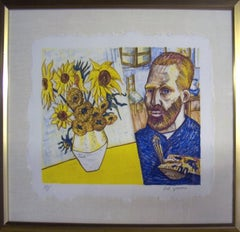 1988 Red Grooms 'van Gogh with Sunflowers' Pop Art Multicolor USA Lithograph Fra