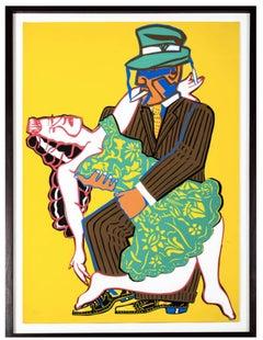 Mango Tango - figurative bright color silkscreen print of dancing couple framed