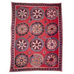 Red Ground Suzani from Uzbekistan, Early 20th Century