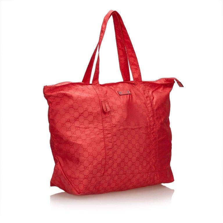 66ed49084b80 Gucci Guccissima Red Nylon Tote Bag In Good Condition For Sale In New York,  NY