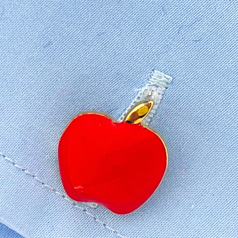 Red Hand Enameled Apple Shaped Sterling Silver Gold-Plated Cufflinks For Sale 5