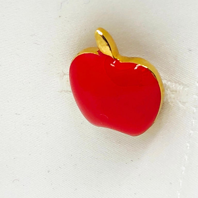 Red Hand Enameled Apple Shaped Sterling Silver Gold-Plated Cufflinks For Sale 7