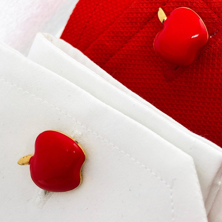 Red Hand Enameled Apple Shaped Sterling Silver Gold-Plated Cufflinks For Sale 9
