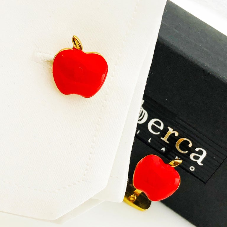 Red Hand Enameled Apple Shaped Sterling Silver Gold-Plated Cufflinks For Sale 10