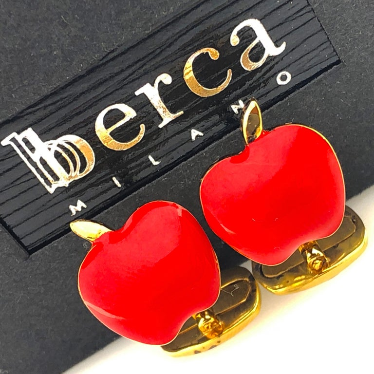 Unique and Chic Red Hand Enamelled Apple Shaped T-Bar Back, Sterling Silver Gold-Plated Cufflinks. In our smart fitted black box.