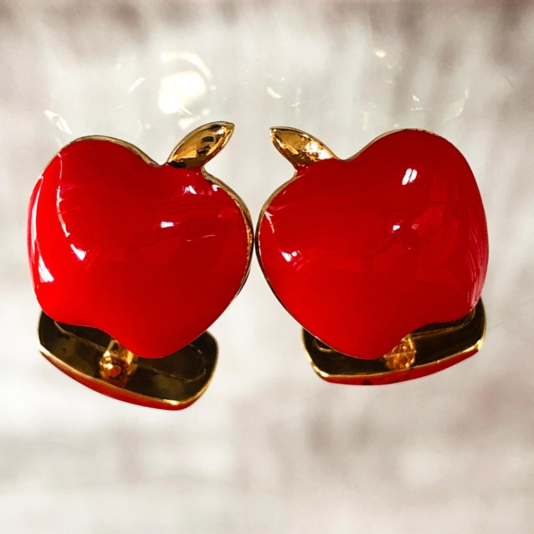 Contemporary Red Hand Enameled Apple Shaped Sterling Silver Gold-Plated Cufflinks For Sale