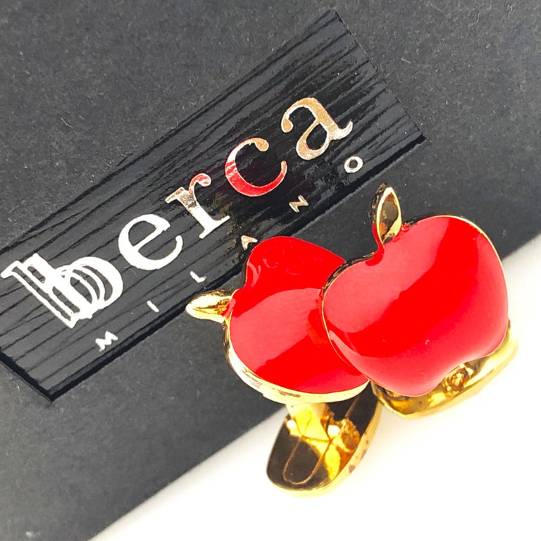 Red Hand Enameled Apple Shaped Sterling Silver Gold-Plated Cufflinks For Sale 1