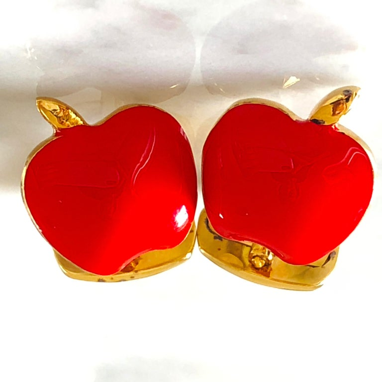 Red Hand Enameled Apple Shaped Sterling Silver Gold-Plated Cufflinks For Sale 2
