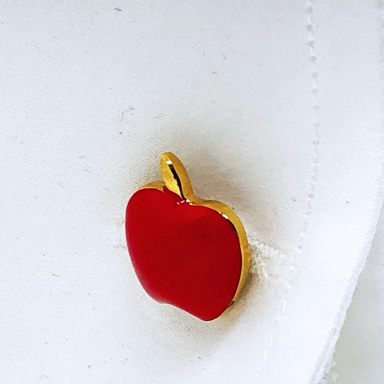 Red Hand Enameled Apple Shaped Sterling Silver Gold-Plated Cufflinks For Sale 3
