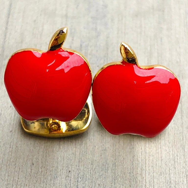 Red Hand Enameled Apple Shaped Sterling Silver Gold-Plated Cufflinks For Sale 4