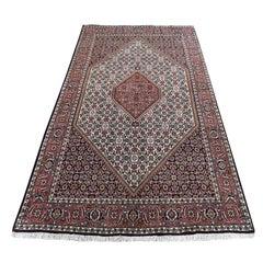 "Red Hand Knotted Persian Bijar Pure Wool Oriental Rug, 4'6"" x 7'5"""