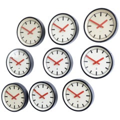 Red Handed Textile Factory Clocks, circa 1950s